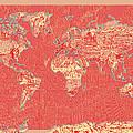 World Map Landmark Collage Red by Bekim Art