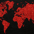 World Map Red Fabric On Dark Leather by Design Turnpike