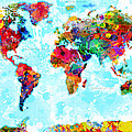 World Map Spattered Paint by Gary Grayson