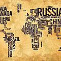 World Map Typography 6 Watercolor Painting by Georgeta Blanaru