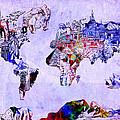 World Map Watercolor 2 by Bekim Art