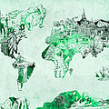 World Map Watercolor 4 by Bekim Art