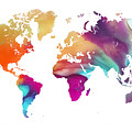 World Map Watercolor by Justyna JBJart