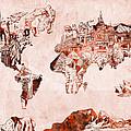 World Map Watercolor by Bekim Art