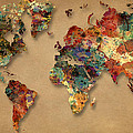 World Map Watercolor Painting 1 by Georgeta Blanaru