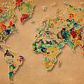 World Map Watercolor Painting 2 by Georgeta Blanaru