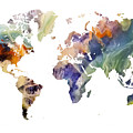 World Map Watercolor Painting by Justyna JBJart