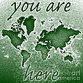 World Map You Are Here Novo In Green by Eleven Corners