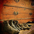 Worn Family Shoes Linded Up by Jill Battaglia