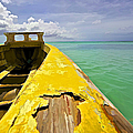 Worn Yellow Fishing Boat Of Aruba by David Letts