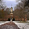 Wren Building In Snow by Sally Weigand