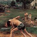 Wrestling by Emile Friant