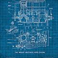 Wright Brothers Aero Engine Vintage Patent Blueprint by Design Turnpike
