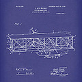 Wright Brothers Flying Machine 1906 Patent Art Blue by Prior Art Design