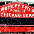 Wrigley Field Chicago Cubs Sign Digital Painting by Paul Velgos
