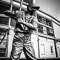 Wrigley Field Ernie Banks Statue In Black And White by Paul Velgos