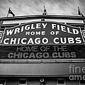 Wrigley Field Sign In Black And White by Paul Velgos