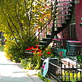 Wrought Iron Fence Balcony And Staircases Verdun Stairs Summer Scenes Carole Spandau  by Carole Spandau