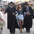 Wyatt Earp  Doc Holliday Escort  Woman  With O.k. Corral In  Background 2004 by David Lee Guss