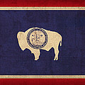 Wyoming State Flag Art On Worn Canvas by Design Turnpike