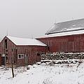 Yankee Farmlands No 19 - Winter Snow And New England Barn by JG Coleman