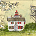 Yaquina Bay Lighthouse Or Nautical Chart Map Art by Cathy Peek