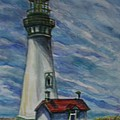 Yaquina Head Lighthouse Original Painting by Quin Sweetman