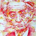 Yasunari Kawabata Watercolor Portrait by Fabrizio Cassetta