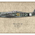 Yellow 10 Focke-wulf Fw190d - Map Background by Craig Tinder