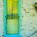Art Deco Lamp And Yellow And Turquoise Window by Kathy Barney