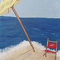 Yellow Beach Umbrella And Chair 3 by Bobbi Groves