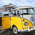 Yellow Bus At The Beach by Ron Regalado