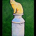 Yellow Cat On Milk Can by Jim Harris