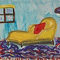 Yellow Chaise-red Pillow by Mary Carol Williams