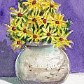 Yellow Daisies In Stoneware Vase by Linda L Martin