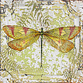 Yellow Dragonfly On Vintage Tin by Jean Plout