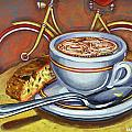 Yellow Dutch Bicycle With Cappuccino And Biscotti by Mark Jones