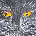 Yellow Eyed Black Cat by Kathy Marrs Chandler