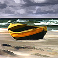 Yellow Fishing Dory Before The Storm by Elaine Plesser