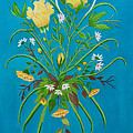 Yellow Floral Enchantment In Turquoise by Brenda  Drain