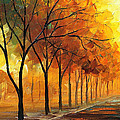 Yellow Fog - Palette Knife Oil Painting On Canvas By Leonid Afremov by Leonid Afremov