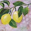 Yellow Lemons On Purple Orchid by Jen Norton