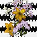 Yellow Lilies On Black And White Zigzag by Nancy Long