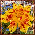Yellow Lily With Streaks Of Red Abstract Painting Flower Art by Omaste Witkowski