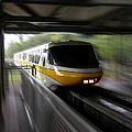 Yellow Monorail Entering The Station 02 by Thomas Woolworth