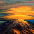 Yellow Mountaintop Hugged By Yellow Cloud  by Angela Stanton