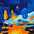 Yellow Orange Blue Sunset Landscape by Patricia Awapara