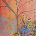 Yellow Peace Bird On Orange by Robin Maria Pedrero