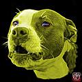 Yellow Pitbull Dog 7769 - Bb - Fractal Dog Art by James Ahn