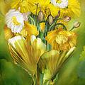 Yellow Poppies In Poppy Vase by Carol Cavalaris